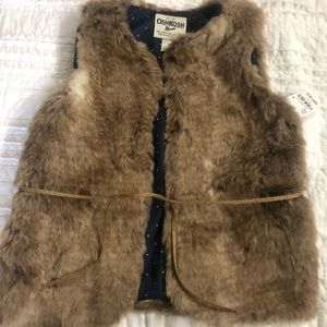 Girls faux fur vest with gold glitter tie
